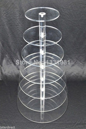 tier crystal cake stand Canada - Details about 7 Tier Crystal Clear Acrylic Round Cup Cake Stand Tower Wedding Baby Shower deco wedding decoration