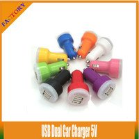 Wholesale Dual Car Charger Ego - 10pcs lot!!Colorful Mini Dual USB 2 Port Car Charger 5v Power Adapter For Samsung S3 S4 S5 Mobile Phone Charger E Cigarette eGO Evod Battery