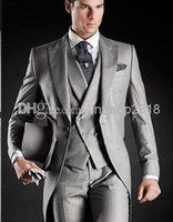 Wholesale Double Breasted Vest Tuxedo - Modern Lapel 2015 Tuxedos Man Suit Slim Fit Sliver Color Groom Bridegroom Suits White House (Jacket+Pants+Tie+Vest) QR69