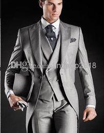Wholesale Two Color Vest - Modern Lapel 2015 Tuxedos Man Suit Slim Fit Sliver Color Groom Bridegroom Suits White House (Jacket+Pants+Tie+Vest) QR69