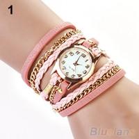 Wholesale Women Leather Wrap Bracelet Watch - Wholesale-Colorful Vintage women watches Weave Wrap Rivet Leather Bracelet wristwatches 05C4