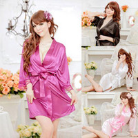 Wholesale Babydoll Lingerie Gown - Wholesale - Sexy Womens SILK LACE Kimono Dressing Gown Bath Robe Babydoll Lingerie+G-string