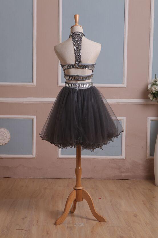 2015 Stokta Iki Adet Kısa Mezuniyet Elbiseleri ile Yüksek Boyun Boncuk Rhinestones Tül Mezuniyet Elbiseleri Mini Balo Abiye Gerçek Resimler
