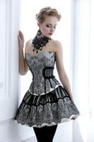 vestidos victorian belle al por mayor-Corpiño sexy de encaje negro vestido de fiesta corsé gótico Southern Belle Victorian Homecoming Dress Una línea corta Mini Hallowood Cocktail Party Dress