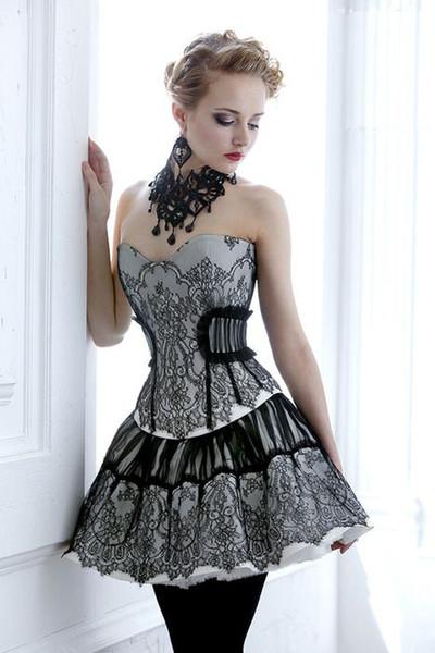 alinabridal / Corpiño sexy de encaje negro vestido de fiesta corsé gótico Southern Belle Victorian Homecoming Dress Una línea corta Mini Hallowood Cocktail Par