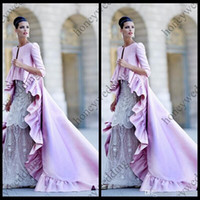Wholesale tailed jacket - Hot Bridal Wraps And Jackets Falbala Edge High Low 3 4 Long Sleeve Satin Lilac Purple Pink cape Modern Bride Cloak With Tail Wedding capes