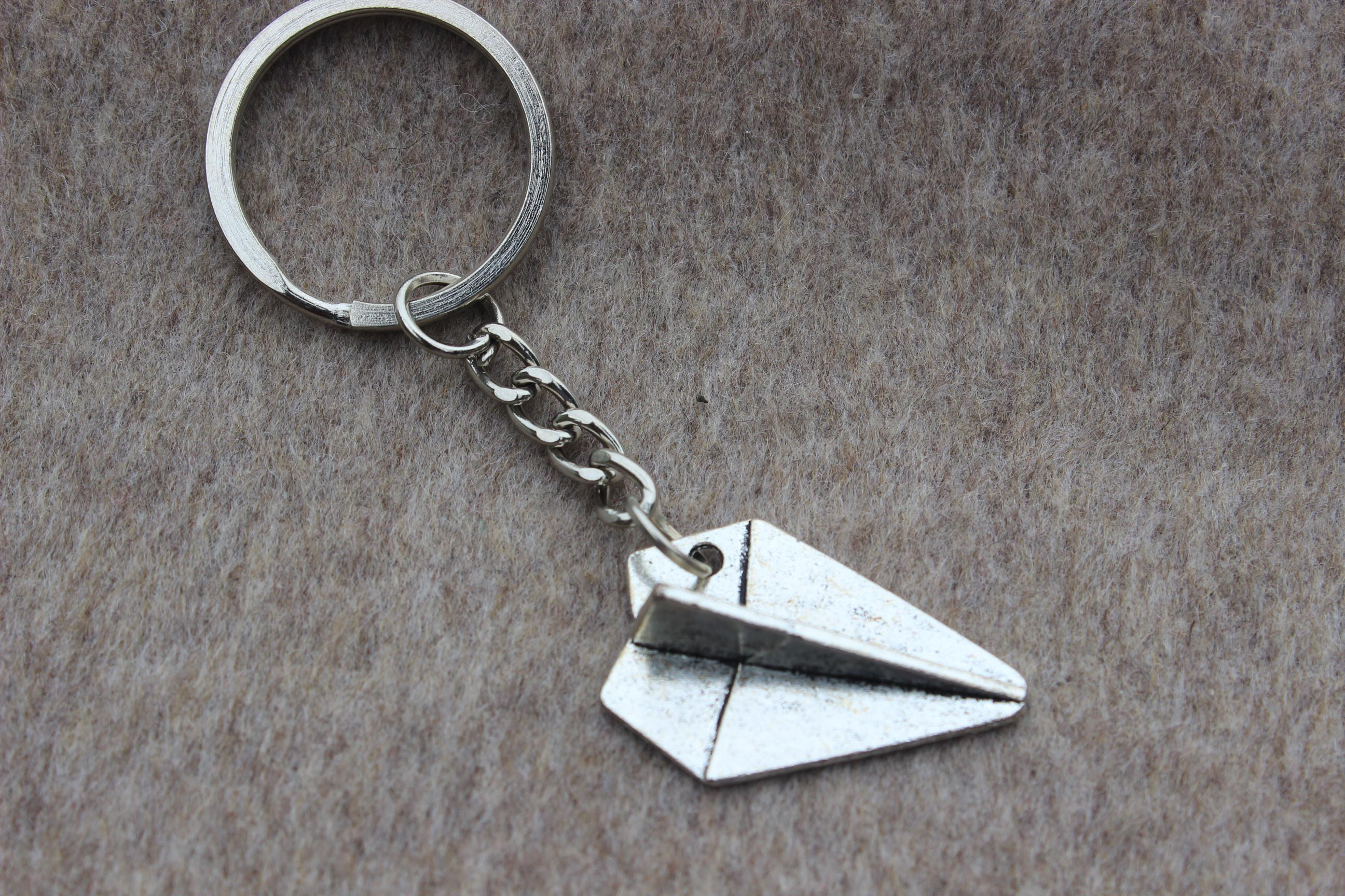 Vintage Silver Paper Airplane Keychain Key Ring d7454f5fb