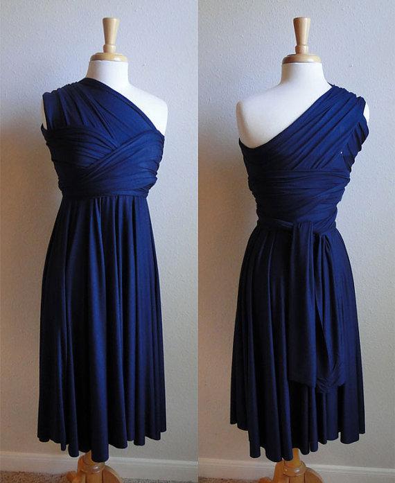 Fantastyczna Granatowa Blue Druhna Dress 2015 Custom Made Plus Size Jersey Długość kolana Krótkie sukienki Druhna do Suknie Party Party