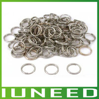 Wholesale Nickel Split Rings - Wholesale-AM1F333 Split Key Ring Chains Key Chain Rings Copper Open Jump Rings Loop Findings Keychain Nickel Plated 16mm 500pcs lot