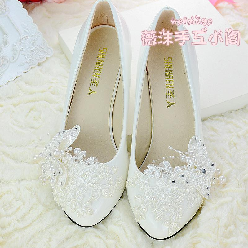 Handmade Ivory Pearl Lace Wedding Shoes Butterfly Beads Flat 45cm 8cm Heel Low Bridal Custom Made Size Bridesmaid