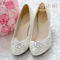 Wholesale Beaded Platform Sandals - 2014 Ivory Wedding Shoes Lace Flower Crystal Bead Handmade Bridal Shoes Bridal Accessories Beading Wedding Shoes Women Flat Sandal Platforms