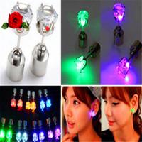 Wholesale Wholesale C7 Light Bulbs - Lovers led lighting luminous earrings stud earring sweet sparkling zirconium diamond led earrings LED Flashing Light Stainless Earring Lamp