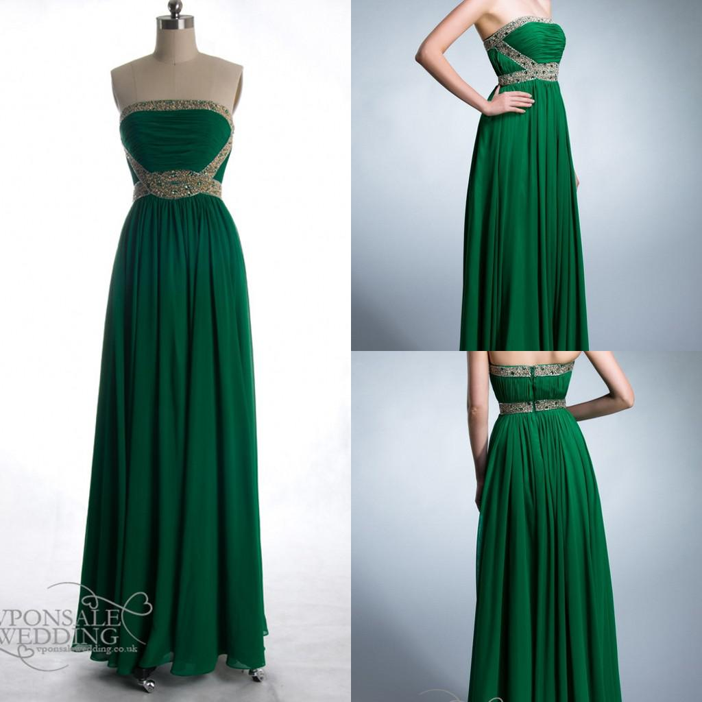 Long Emerald Green Prom Gown Strapless Beaded Collar