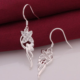 Wholesale Earing Boxes - 925 sterling silver earings Zirconia Drop earrings Butterfly Style earing E541 gift boxes free shipping