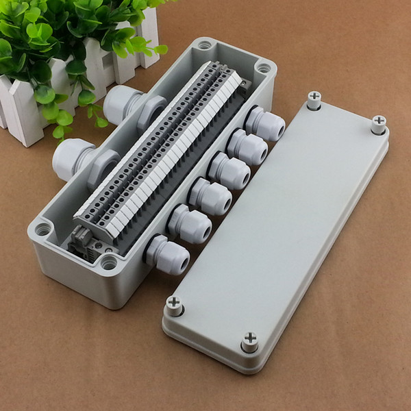 top popular IP65 Waterproof Cable Junction Box 80*250*70mm 2 in 6 out with UK2.5B Din Rail Terminal Blocks 2021