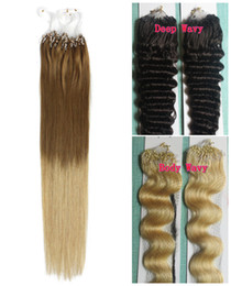 blonde human hair micro extensions 2019 - 5A Grade 0.7g s 70g pack Straight 12''-22'' 24'' 26'' 28'' 30'&#0