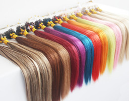 Discount blonde human hair micro extensions - 5A Grade 1g s 100g pack Straight 12''-22'' 24'' 26'' 28'' 30'&#03