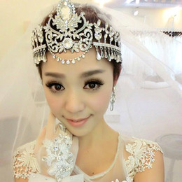 Wholesale Lady Fascinators - Elegant Crystal Hairband Bridal Headwear Ladies Wedding Party Forehead Ornament Crown Topknot jt113