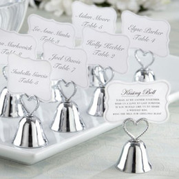 Wholesale Wedding Bell Place Cards - Wedding Decoration gift Kissing bell Silver Heart Bell Place Card Holder and Photo Holder Wedding favors for table card holders 45pcs lot