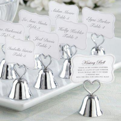 Wedding Decoration gift Kissing bell Silver Heart Bell Place Card Holder and Photo Holder Wedding favors for table card holders 45pcs/lot