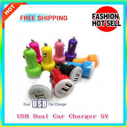 Wholesale Dual Car Charger Ego - 100pcs sale! Fashional USB Dual Car Charger 5V 2 Port travel 2.1A Auto Power adapter for Mobile phones mp3 E Cigarette kit eGO Evod Battery