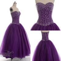Wholesale Violet Pink Prom Dresses - Real Image Prom Gown purple violet beaded prom ball gown Quinceanera Dresses