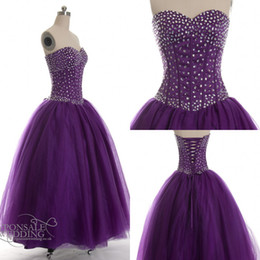Wholesale Violet Ball - Real Image Prom Gown purple violet beaded prom ball gown Quinceanera Dresses
