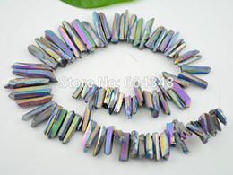 Wholesale Crystal Briolettes - Titanium Rainbow Quartz Sticks Crystal Points Spikes Drilled Briolettes Rough Beads 16 inch Strand 15 -39 mm