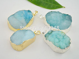 Wholesale Blue Crystal Quartz Natural - 4pcs Silver   Gold plated Turquoise Blue Quartz Druzy Stone Pendant, Natural Crystal Drusy Gem stone Pendant for Necklace