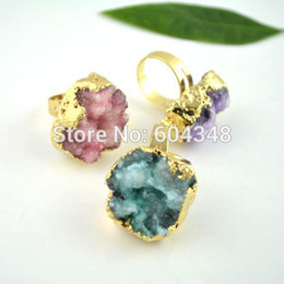 Wholesale Gold Drusy Ring - 6pcs Nature Druzy Quartz Crystal Drusy Finger Gem Stone Ring, Freedom shape Gold Plated Adjustable Size Stone Ring mixed color