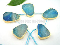 Wholesale blue agate druzy beads - 5pcs Agate Druzy Stone Beads- Turquoise Blue Druzy Slab Bead Connector - Druzy Agate Pendant - Gold Plated Edge