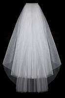 Wholesale organza veils - 2014 Simple Cut Edge Bridal Veil White Three-Layer High Quality Organza BV07