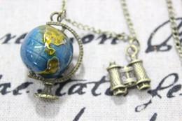 Wholesale Miniature Bronzes - Selling Globe Necklace- Miniature Bronze 3D BIG Movable Globe Telescope Navigator Pendant, Let's Travel the World