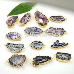 $enCountryForm.capitalKeyWord Canada - 10pcs Gold Plated Druzy Nature Geode Druzy Quartz Slice Agate Gem Stone Connector Beads mix color, Crystal Drusy Pendant