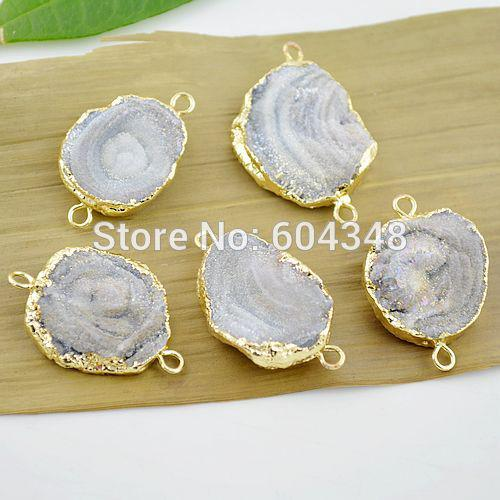 3pcs Druzy Connector, Gold plated edge Druzy Geode agate Connectors in Natural color, Fine Drusy Gem Stone, Druzy Pendant