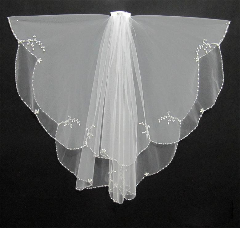 Najtańsze 2019 prawdziwą próbkę w magazynie białe Krótkie welony ślubne Zroszony Edge Veils do sukni ślubnych Suknie ślubne Akcesoria ślubne