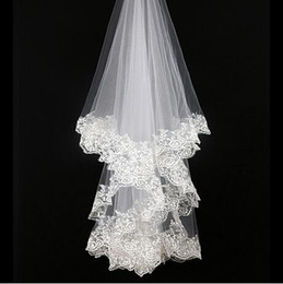 Wholesale Elbow Length Lace Veil - 2017 Free Shipping Elegant Elbow Length Tulle Wedding Bridal Veil One Layer Applique Lace Wedding Veils Cheap formal dress