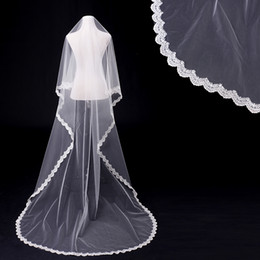En stock Voile de mariage One Layers Tulle en dentelle et Blink Sequins 3m Luxury White nuptial voile Wedding Accessories 6 à partir de fabricateur
