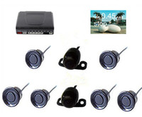 Wholesale Power Dvd Camera - Car Video Parking Sensor PZ600-6 6 Sensors Front Rear Parking Reversing System TFT LCD DVD Rearview Mirror RCA Cameras AV Power Cables