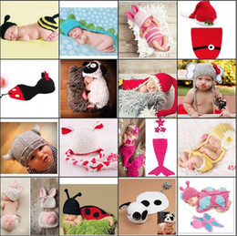 crochet baby animal prop Promo Codes - New Handmade Children Hat Newborn Baby Crochet Animal Beanies Photography Props infant Costume Outfits Cheap Wholesale