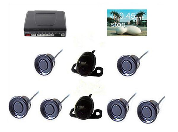 Car Video Parking Sensor PZ600-6+403 6 Sensors Front Rear Parking Reversing System TFT LCD DVD Rearview Mirror RCA Cameras Drill AV Cable