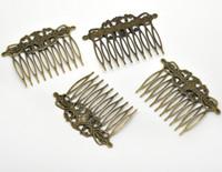 saç sesi tarağı toptan satış-Toptan-10 Bronz Ton Tarak Şekli Saç Klipler 6.5x4.6cm (B15060), türük