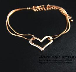 Wholesale Bracelet Slap Infinity - Wholesale-HEB032 2014 Newest infinity 4K Rose Gold filled Titanium Heart Bracelet FashionJewelry for women 2013