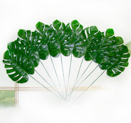 Wholesale Fake Plants Trees - Wholesale-Artificial Flowers Silk Flowers 10 Artificial Monstera Branch Tree Spray Fake Plant Faux Foliage Leaves Art Deco