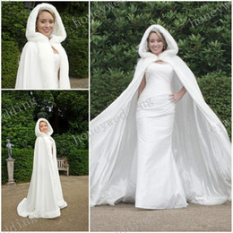 Wholesale Long Fur Trimmed Wedding Cape - Hot !!! Winter Wedding Cloak Capes Hooded With Faux Fur Trim Long For Bride Jackets Fashionable Custom Made Bridal Accessories Thermal Cape