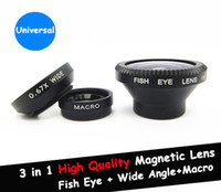 Wholesale Iphone 4s Lens Kit - Magnetic 3 in 1 Wide Angle lens  Macro lens 180 Fish Eye Lens Kit Set for iPhone 6 5S 5C 4 4S iPod Nano 4G iPad,free shipping