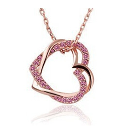 Wholesale Nickel Gold Plating - 2017 JS N005 Necklace Women Top Quality Guarantee Real Gold And Platinum Plated Crystal Heart Necklaces Pendants Nickel Fashion Jewelry XL60