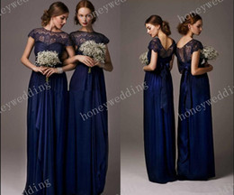 Wholesale Cheap Bow Shirts - 2014 vintage Cheap Bridesmaid Dresses Dress Formal Gowns Chiffon Royal Blue Short Sleeves Lace Long sheer back Pageant Evening gown