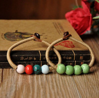 Wholesale Love Glass Model - Sample Ceramic Jewelry Folk Style Glass Stone Beads Woven Bracelet Lovers Models Sweetness Bracelet Christmas Gift C1369