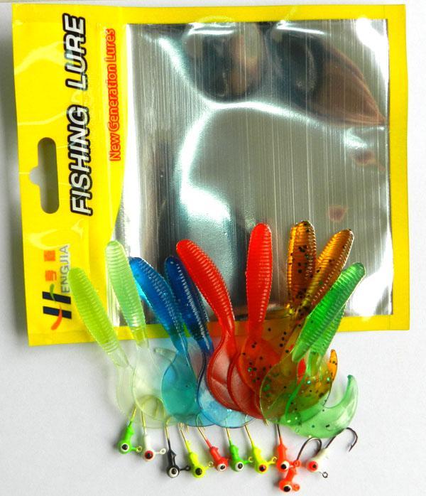 Spedizione gratuita 10 soft bait + piccolo 10 piombo testa gancio richiamo Con attrezzatura da pesca sacchetto Verme Fishing Lure Grub esche da pesca Tubo Kit